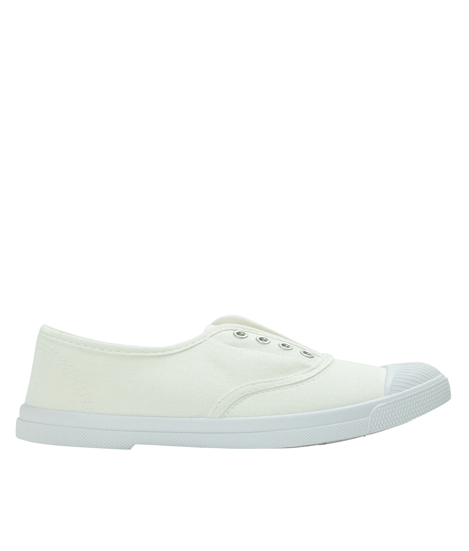 Annakastle Womens Laceless Canvas Sneakers Ivory