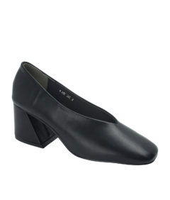 Annakastle Womens Flared Block Heel Pumps Black