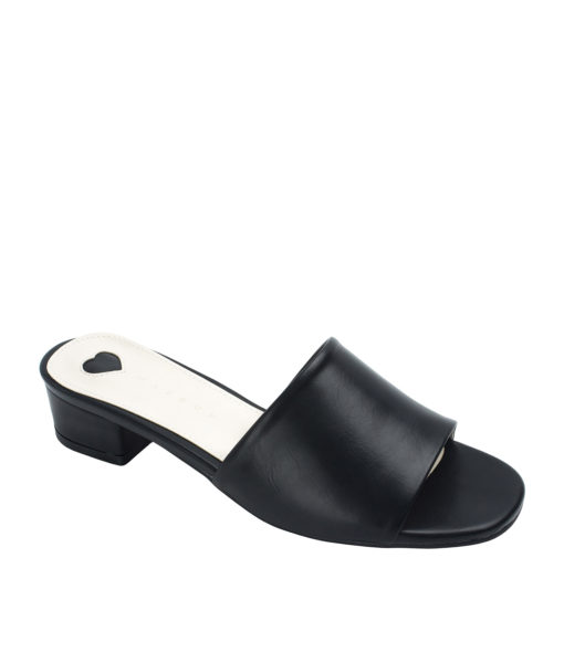 Annakastle Womens Faux Leather Flat Mule Sandals Black