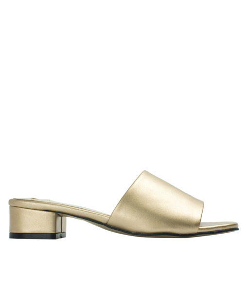 Annakastle Womens Faux Leather Flat Mule Sandals Gold