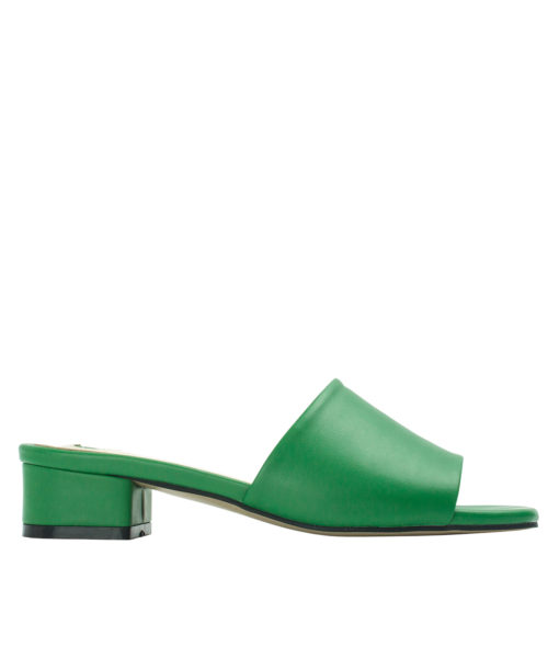 Annakastle Womens Faux Leather Flat Mule Sandals Green