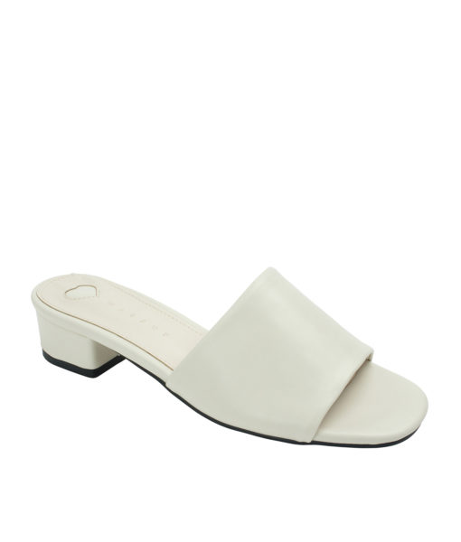 Annakastle Womens Faux Leather Flat Mule Sandals Ivory
