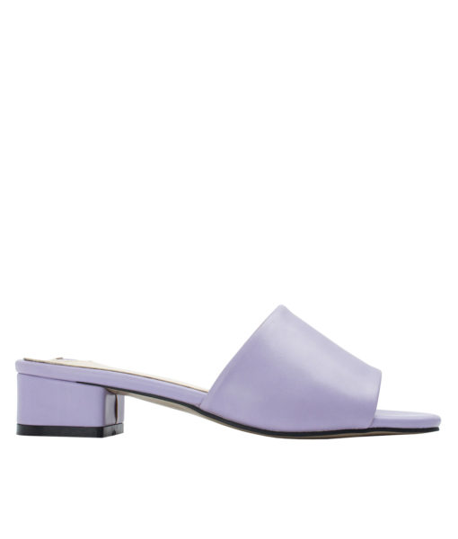 Annakastle Womens Faux Leather Flat Mule Sandals Lavender
