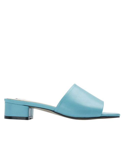 Annakastle Womens Faux Leather Flat Mule Sandals Light Blue