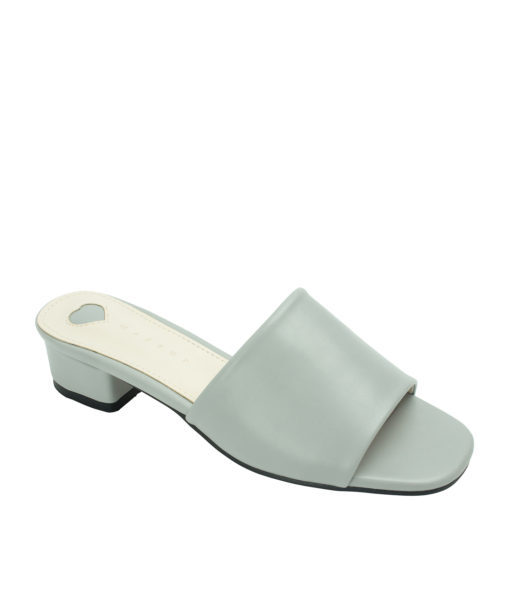 Annakastle Womens Faux Leather Flat Mule Sandals Light Gray