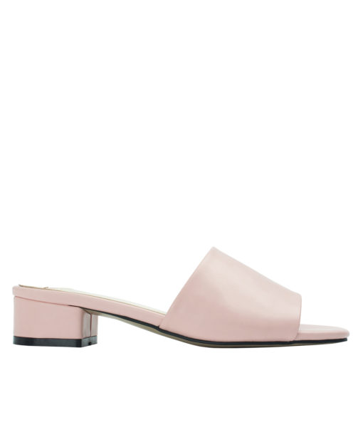 Annakastle Womens Faux Leather Flat Mule Sandals Light Pink