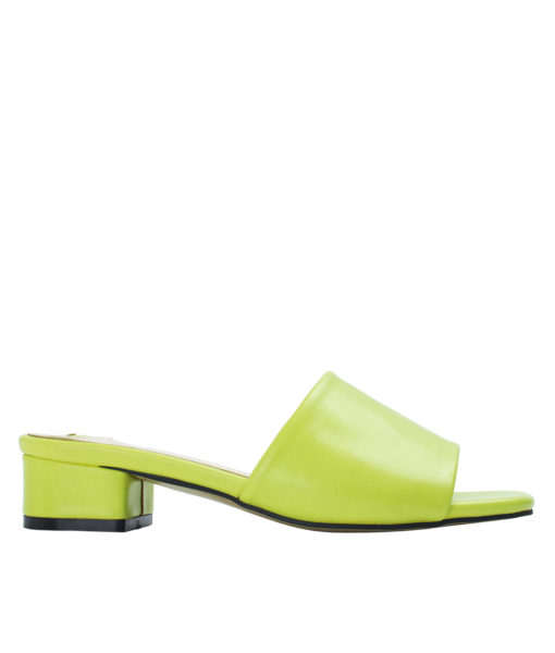 Annakastle Womens Faux Leather Flat Mule Sandals Lime