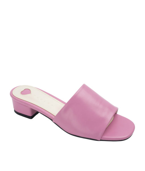 Annakastle Womens Faux Leather Flat Mule Sandals Pink