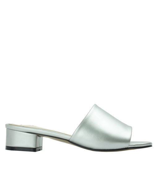 Annakastle Womens Faux Leather Flat Mule Sandals Silver