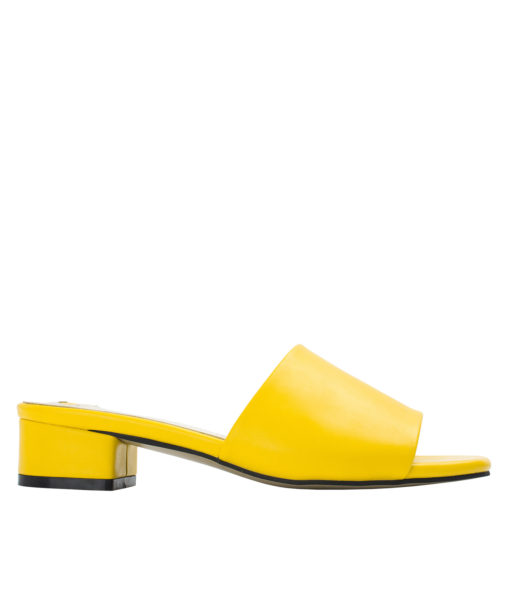 Annakastle Womens Faux Leather Flat Mule Sandals Yellow