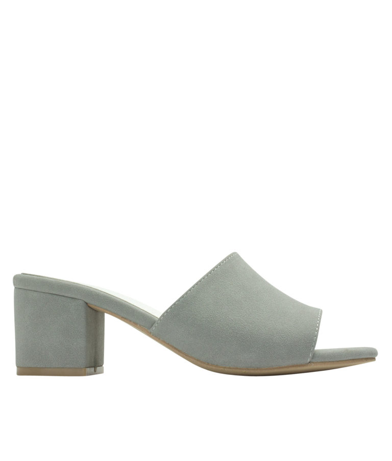 AnnaKastle Womens Faux Suede Open Toe Mules Gray