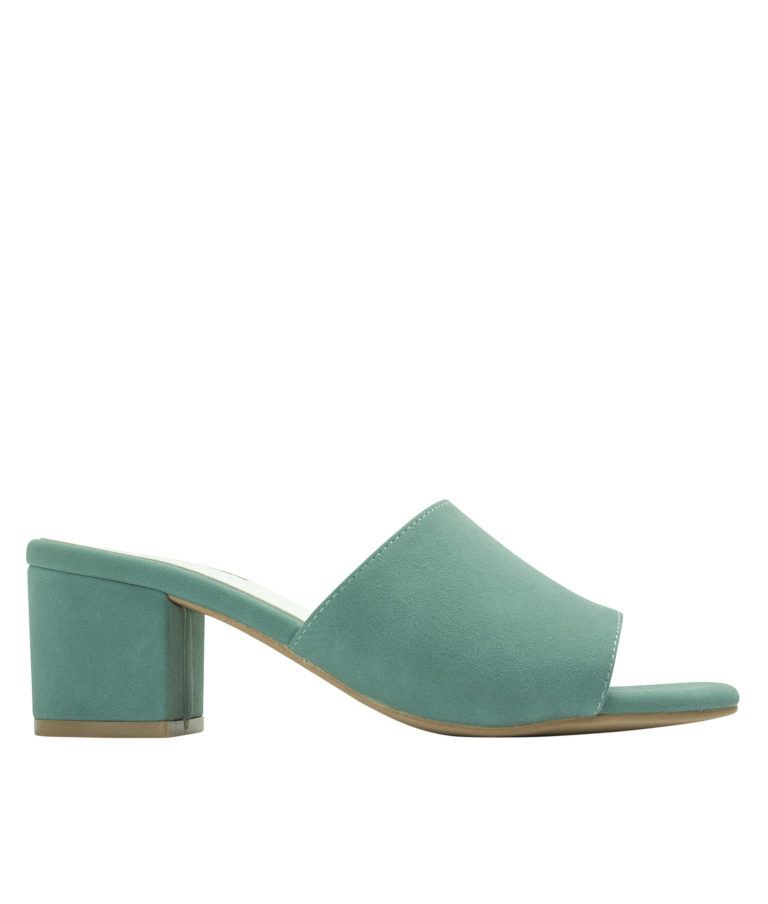 AnnaKastle Womens Faux Suede Open Toe Mules Pale Green