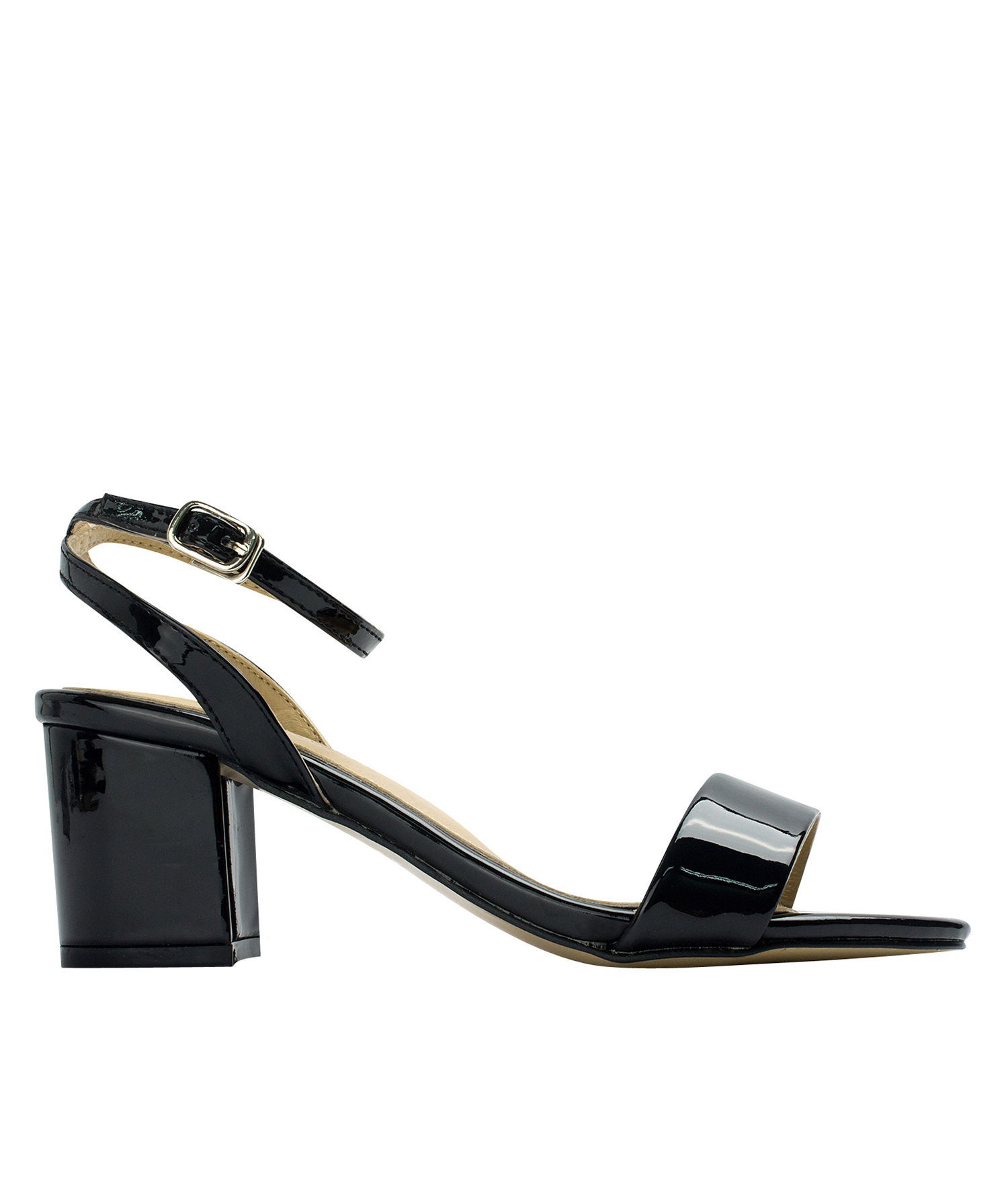 AnnaKastle Womens Patent Ankle Strap Block Heel Sandals Black