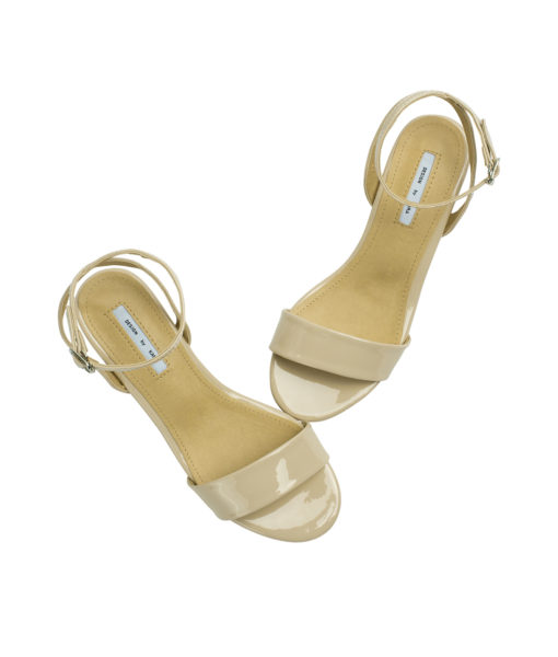 AnnaKastle Womens Patent Ankle Strap Block Heel Sandals Nude Beige