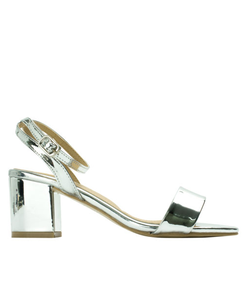AnnaKastle Womens Patent Ankle Strap Block Heel Sandals Silver