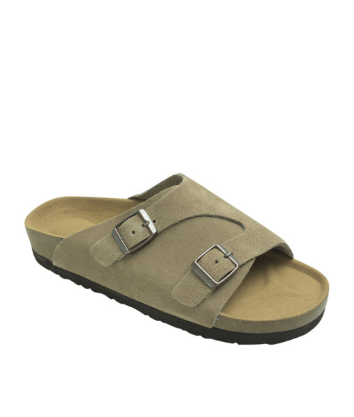 AnnaKastle Genuine Suede Leather Slide Sandals Couple Shoes Beige