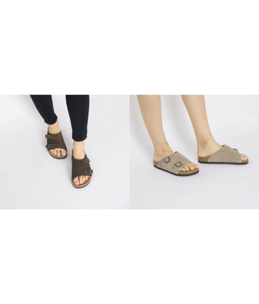 AnnaKastle Genuine Suede Leather Slide Sandals Couple Shoes