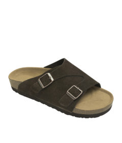 AnnaKastle Genuine Suede Leather Slide Sandals Couple Shoes Dark Brown