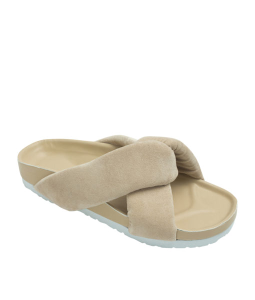 AnnaKastle Womens Cushioned Criss Cross Slides Beige