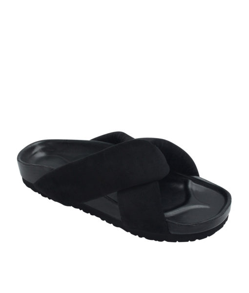 AnnaKastle Womens Cushioned Criss Cross Slides Black