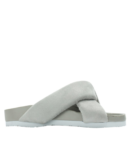 AnnaKastle Womens Cushioned Criss Cross Slides Gray