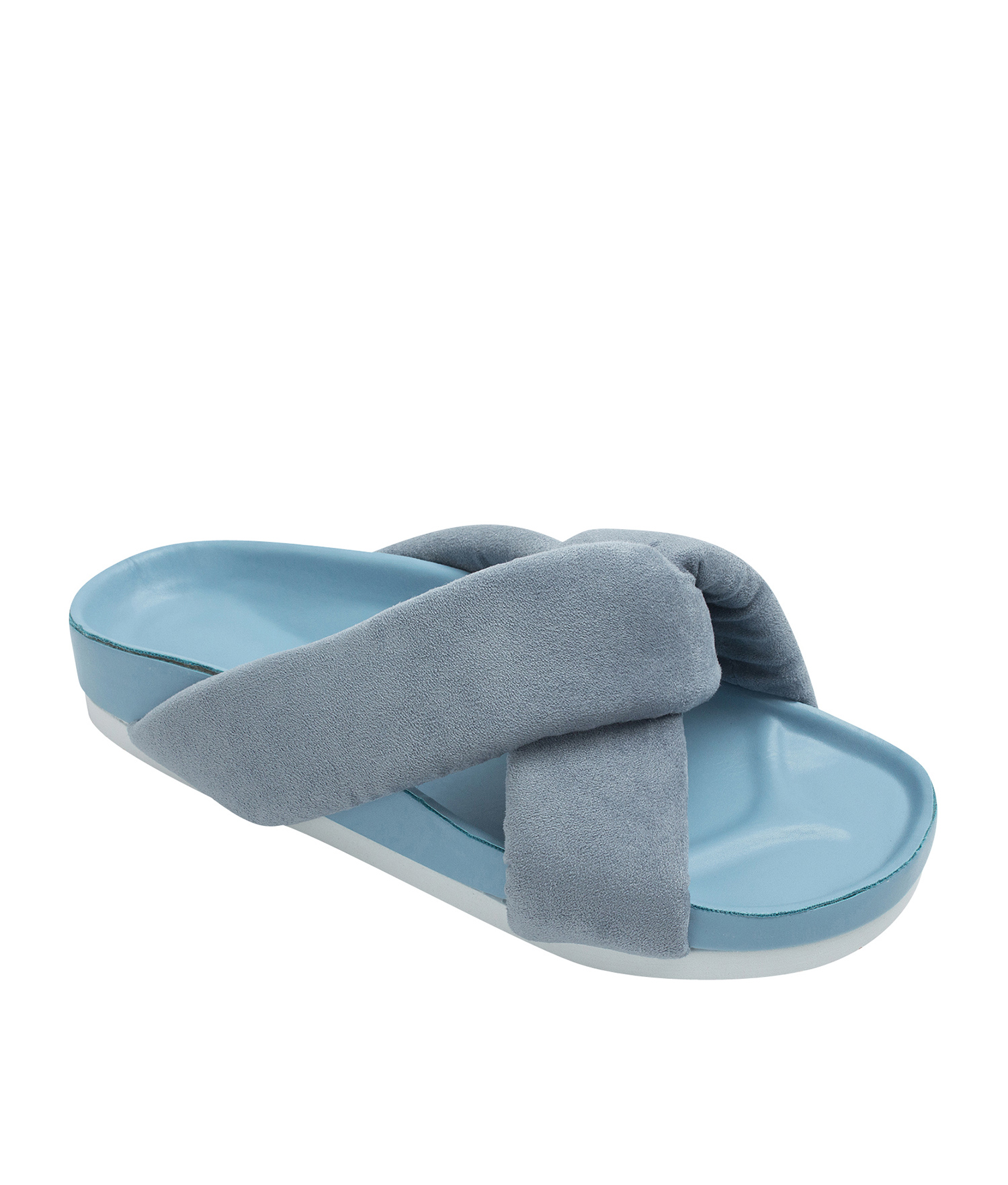 AnnaKastle Womens Cushioned Criss Cross Slides Light Blue