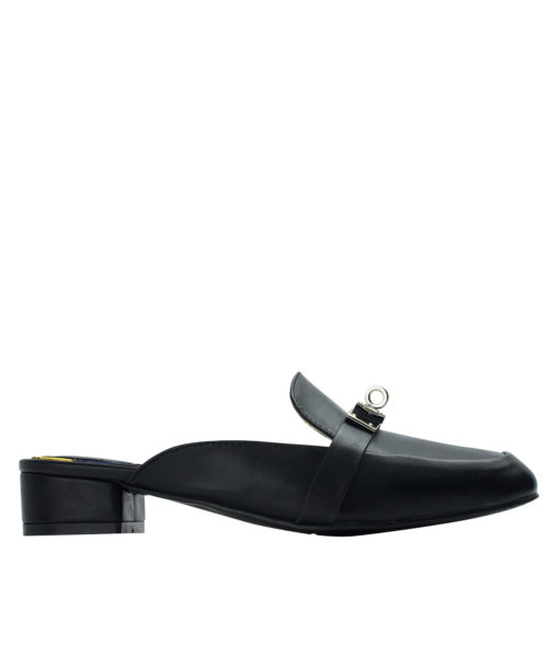 AnnaKastle Womens Buckle Front Loafer Mules Black