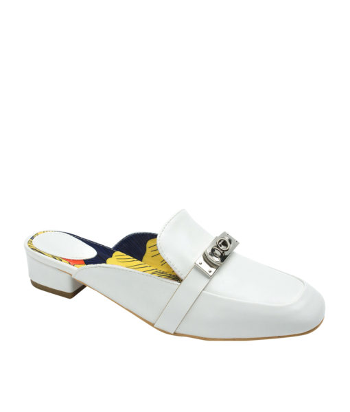 AnnaKastle Womens Buckle Front Loafer Mules White