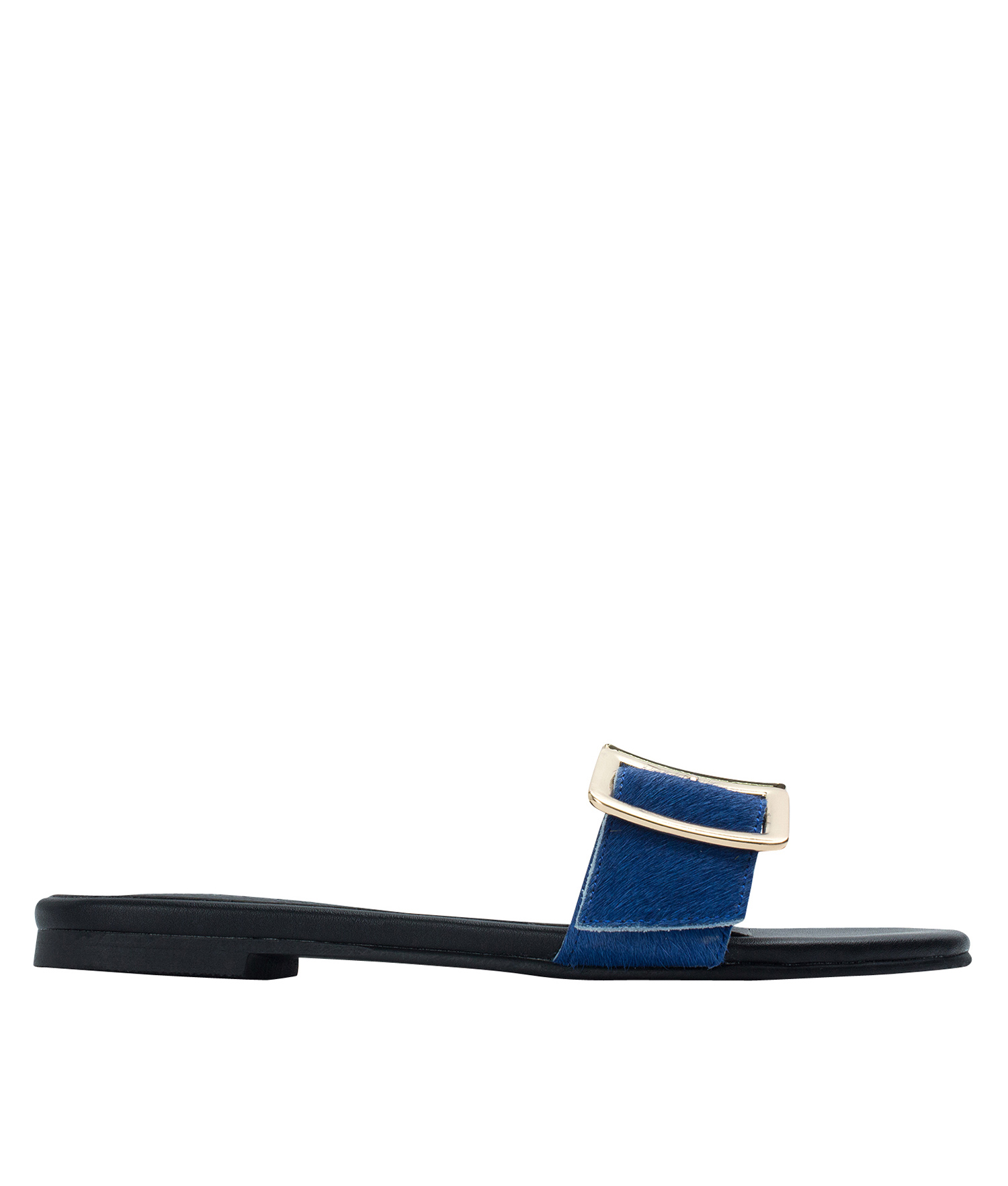 AnnaKastle Womens Double Buckle Calf Hair Slide Mules Blue