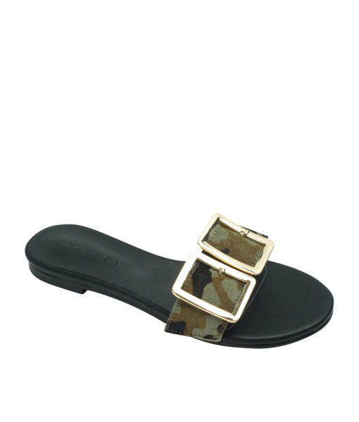 AnnaKastle Womens Double Buckle Calf Hair Slide Mules Camouflage