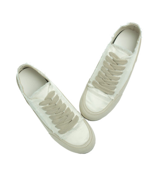 AnnaKastle Womens Fringed Low Top Satin Sneakers Ivory