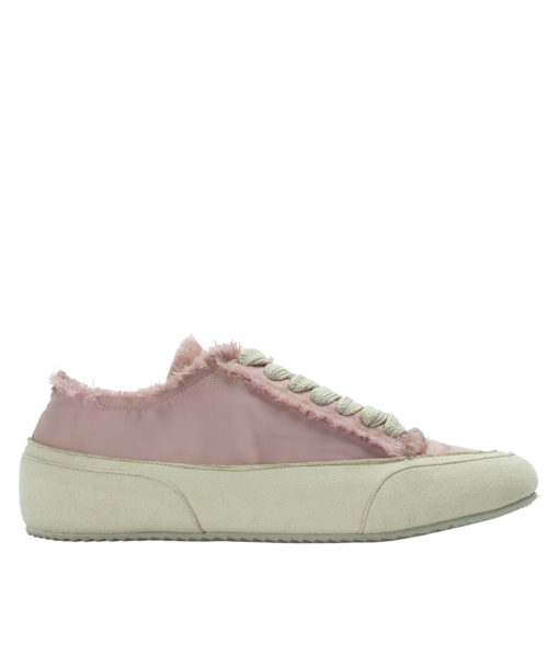 AnnaKastle Womens Fringed Low Top Satin Sneakers Pink