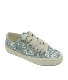 AnnaKastle Womens Low Top Silver Glitter Sneakers