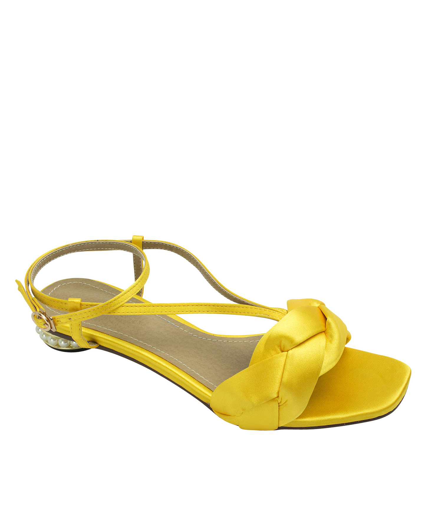 AnnaKastle Womens Faux Pearl Heel Braided Satin Sandals Yellow