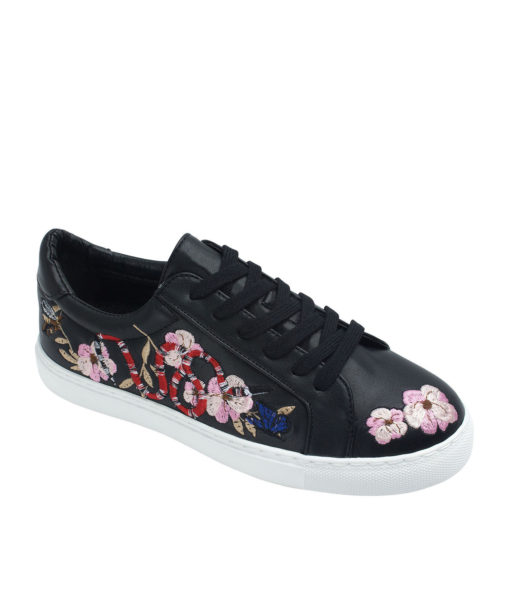 AnnaKastle Womens Cherry Blossom Sneakers Black