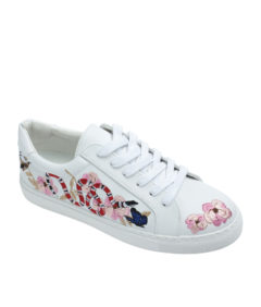 AnnaKastle Womens Cherry Blossom Sneakers Denim White