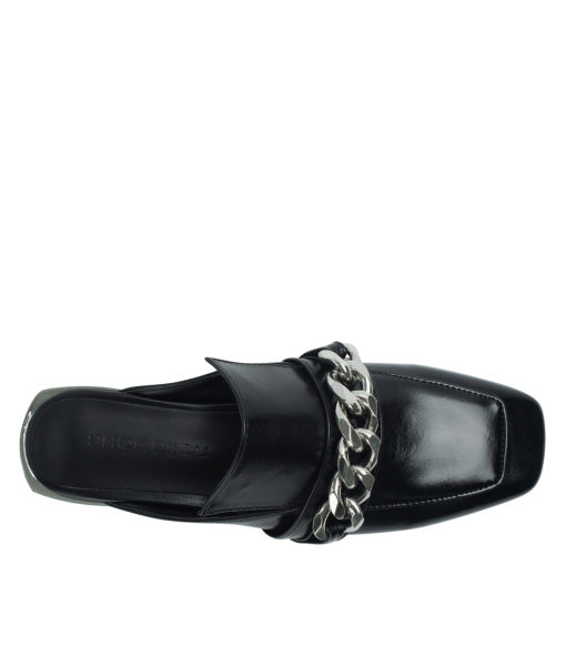 AnnaKastle Womens Curb Chain Backless Loafers Black