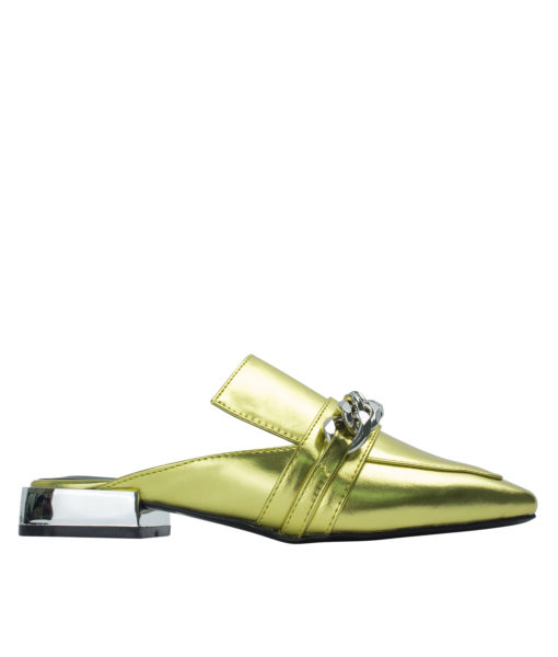 AnnaKastle Womens Curb Chain Backless Loafers Gold