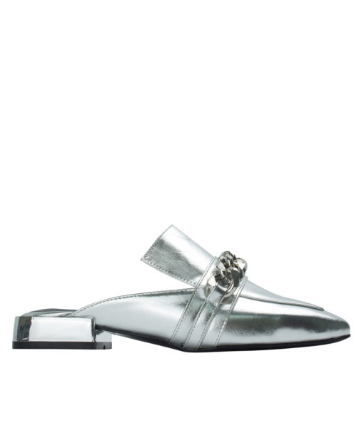 AnnaKastle Womens Curb Chain Backless Loafers Silver