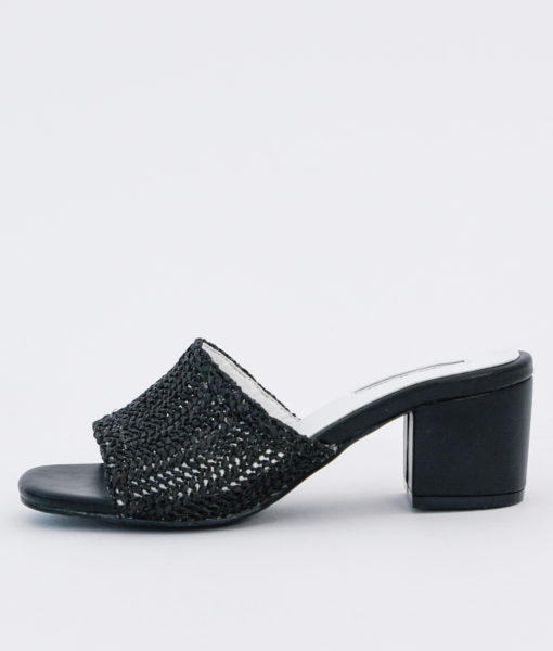 AnnaKastle Womens Block Heel Woven Crochet Sandals Black