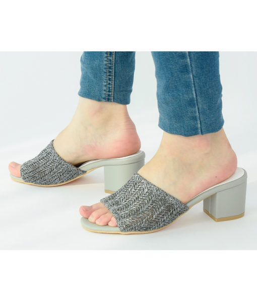 AnnaKastle Womens Block Heel Woven Crochet Sandals Gray