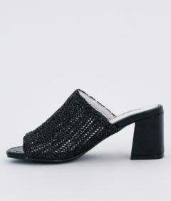AnnaKastle Womens Natural Woven Crochet Mules Black