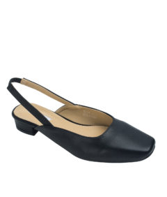 AnnaKastle Womens Square Toe Ballet Slingbacks Black