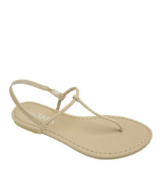 AnnaKastle Womens T-Strap Thong Flat Sandals Beige