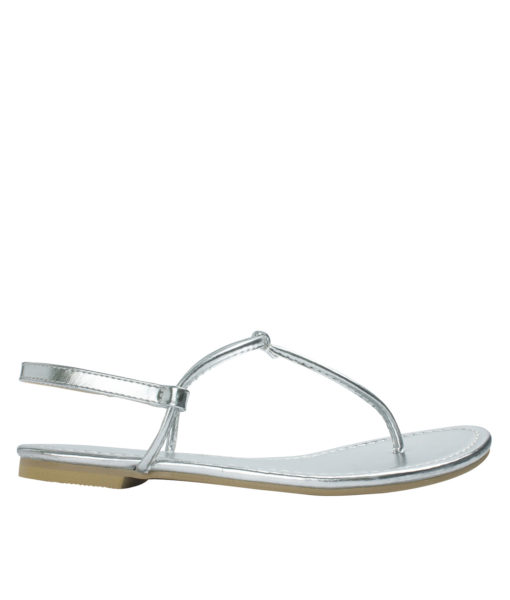 AnnaKastle Womens T-Strap Thong Flat Sandals Silver