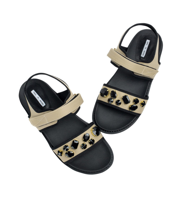 AnnaKastle Womons Jewelled Neoprene Comfortable Sandals Apricot