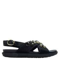 AnnaKastle Womens Jewelled Neoprene Criss Cross Flat Sandals Black