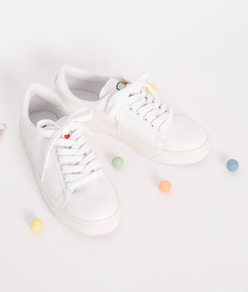 AnnaKastle Womens Rainbow Smiley White Tennis Sneakers