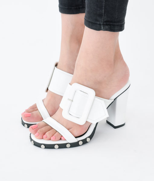 AnnaKastle Womens Double Strap Mule Sandals White