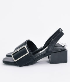 AnnaKastle Womens Oversized Buckle Slingback Sandals Black